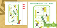 Snakes and Ladders Activity (Pirates)
