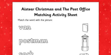 Aistear Christmas and The Post Office Word and Picture Matching Activity Sheet
