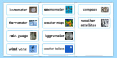 Weather Instrument Word Cards