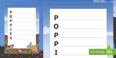 Poppy Story Poppies Acrostic Poem