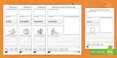 * NEW * Halloween Themed Sentence Unscramble Activity Sheets
