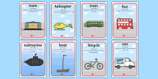 Aistear Transport with Missing Parts Language Posters