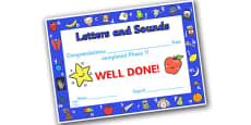Letters and Sounds Award Certificates Phase 1
