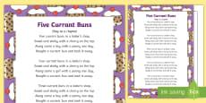 Five Currant Buns Nursery Rhyme Sheet