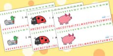 Combined Number and Alphabet Strips to Support Teaching on What the Ladybird Heard
