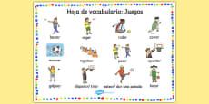 PE Games Word Mat Spanish/Español