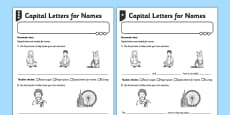 Capital Letters for Names (People and Places) Differentiated Activity Sheet Pack