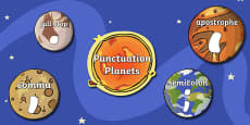 Punctuation Planets Space Display