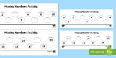 Missing Numbers to 20 on Cauldrons Activity Sheet