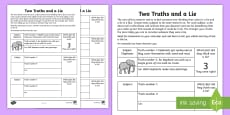 Two Truths and a Lie Activity Sheet