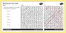 Multiplication 2 Times Tables Wordsearch Activity Sheet