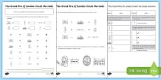 The Great Fire of London Crack the Code Addition and Subtraction Activity Sheet