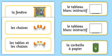 Classroom Furniture labels French