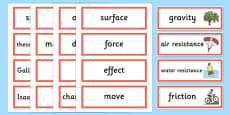 Year 5 Forces Scientific Word Cards
