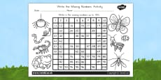 Minibeasts Cute Missing Numbers Number Squares - Australia