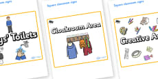 Beetle Themed Editable Square Classroom Area Signs (Plain)