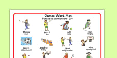 PE Games Word Mat Polish Translation