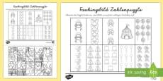 Faschingsbild- Zahlen bis 10 Arbeitsblatt: Erstes Zählen