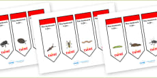 Minibeasts Editable Bookmarks (Detailed Version)