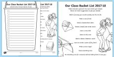 Our Class Bucket List 2017-18 Activity Sheet