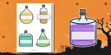 Editable Halloween Potion Bottles Self Registration