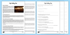 Up Helly Aa Comprehension Sheets and Information Sheet