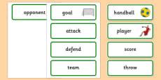 Rio 2016 Olympics Handball Word Cards