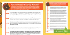 Autumn Outdoor Learning Activities Parent and Carer Information Sheet