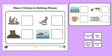 Workstation Pack: Phase 3 Pictures to Phrases Matching Activity Sheet