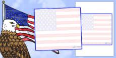 USA Themed Editable Classroom Area Display Sign
