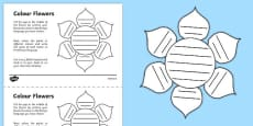 MFL Colour Flowers Activity Sheet