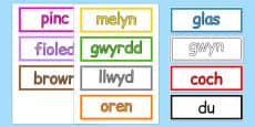 Colours Vocabulary Cards Cymraeg