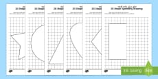 2D Shape Symmetry Drawing Activity English/Arabic