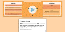 Persuasive Writing Text PowerPoint and Activity Sheet