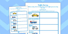 Traffic Survey Activity Sheet Arabic Translation