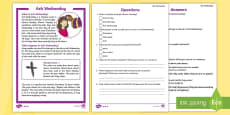 KS1 Ash Wednesday Differentiated Reading Comprehension Activity