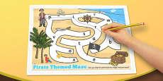 Pirate Themed Maze Activity Sheet