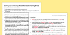 Spelling and Punctuation Mixed Apostrophe Activity Sheet