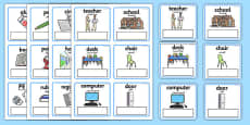 EAL Everyday Objects at School Editable Cards Arabic Translation
