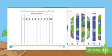 Earth Day 1-10 Number Sequencing Puzzle