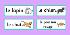 French Pets Word Cards