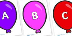 A-Z Alphabet on Party Balloons