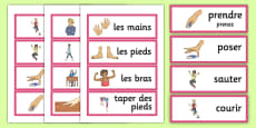 French Actions Word Cards
