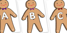 A-Z Alphabet on Gingerbread Man