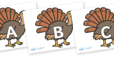 A-Z Alphabet on Turkeys