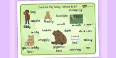 I've Lost My Teddy Where Is It Word Mat Images