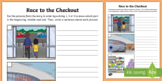 Race to the Checkout Picture Sequencing Activity Sheet