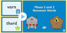 Phase 2 and 3 Nonsense Words Phonics Screening Support PowerPoint