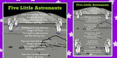 Five Little Astronauts Counting Song Sheet
