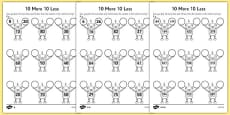 10 More 10 Less Robots Activity Sheet